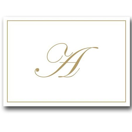 Gold Embossed Initial Note Cards Letter A Boxed Set of 8