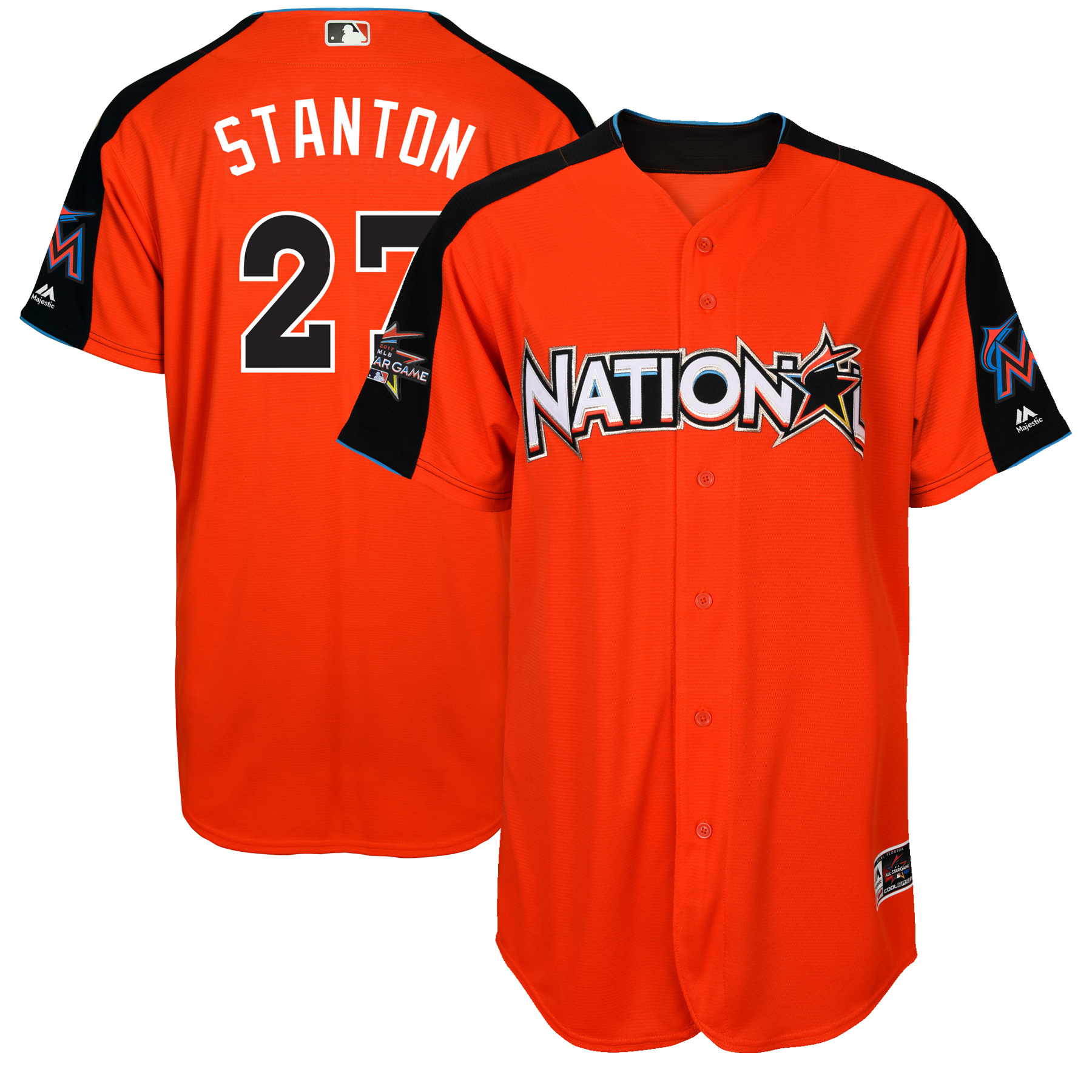 Giancarlo Stanton National League Majestic 2017 MLB All-Star Game Authentic Home Run Derby Jersey - Orange