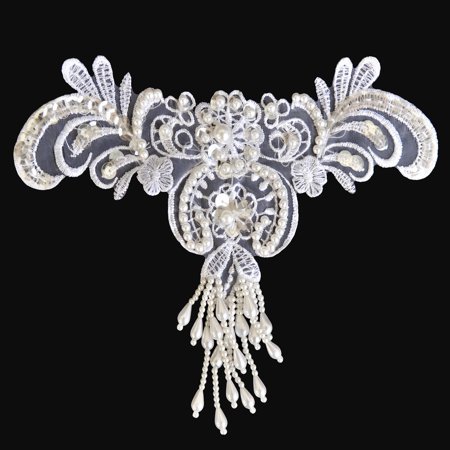 Lily 8 x 5 inches White Bridal Beaded Embroidery Motif Applique Trim by Piece