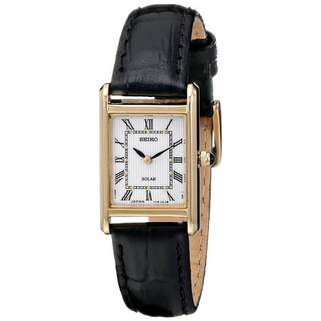 Womens Solar Stainless Steel Case Leather Strap White Dial Gold Watch - SUP250 ()