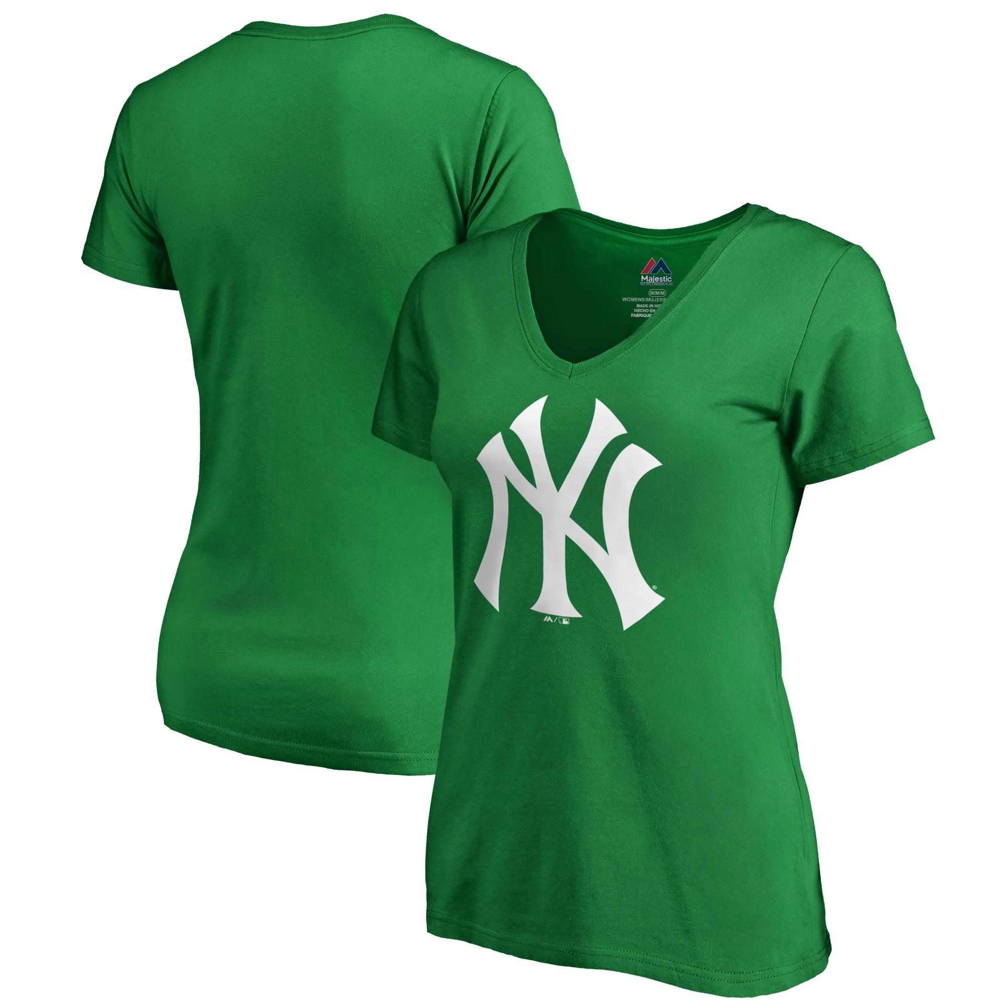 New York Yankees Majestic Women's St. Patrick's Day White Logo V-Neck T-Shirt - Kelly Green