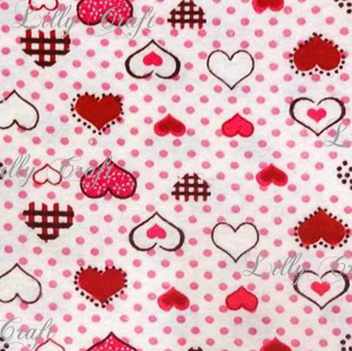 Flannel Hearts Red with Dots 45 Inch Fabric by the 5 Yard Bolt