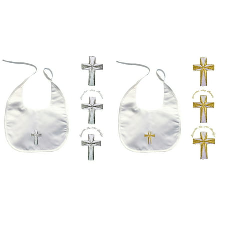 Baby Toddler Infant Christening Baptism White Bib Gold Silver Embroidered Cross