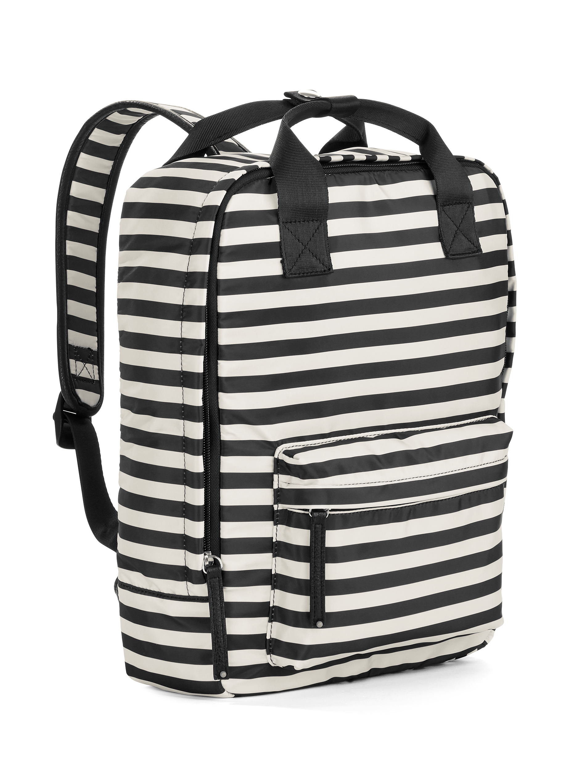 Black/White Stripe Square Backpack