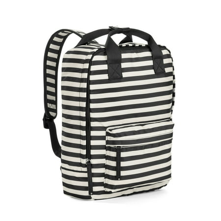 Black/White Stripe Square Backpack