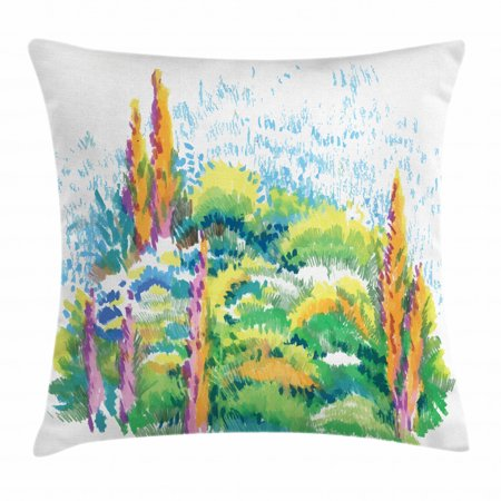 Fine Art Throw Pillow Cushion Cover, Natural Floral Meadow Landscape with Trees on the Hill August Season Watercolor, Decorative Square Accent Pillow Case, 18 X 18 Inches, Multicolor, by Ambesonne Fine Art Cotton Natural
