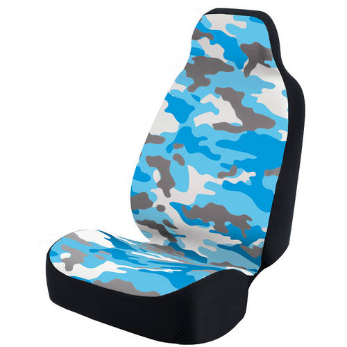 Coverking Universal Seat Cover Fashion Print, Ultra Suede, Camo Blue and White Background with Black Interlock Backing