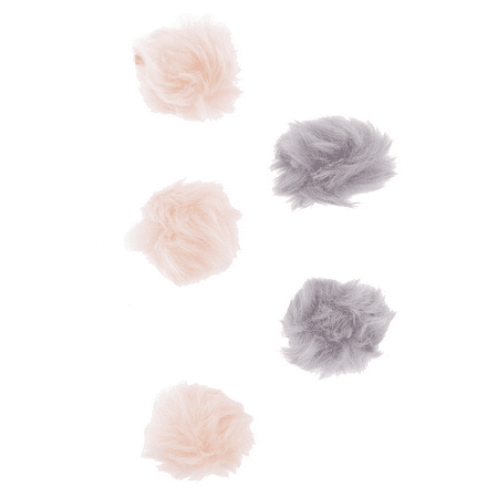 Lux Accessories Pink and Grey Furry Pom Pom Hair Clips (5PCS) - Gatsby Themed Prom Hair