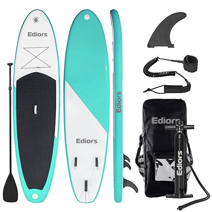 Ediors Inflatable Stand Up Paddle Board (6 Inches Thick) Universal SUP Wide Stance w Bottom Fin for Paddling and Surf... by