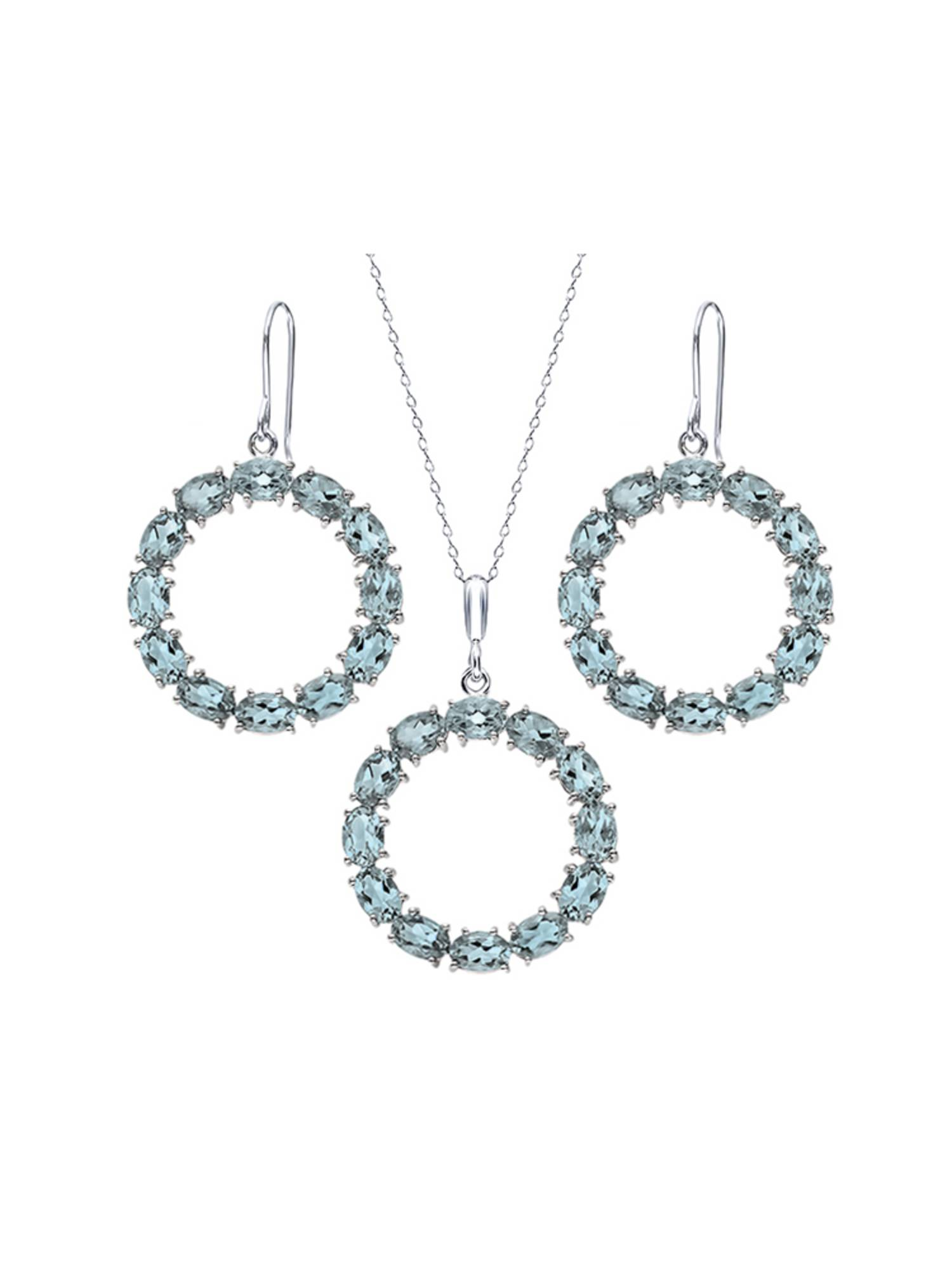 21 Ctw Oval Sky Blue Topaz Sterling Silver Circle Pendant Earrings Set by