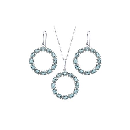 21 Ctw Oval Sky Blue Topaz Sterling Silver Circle Pendant Earrings Set Blue Circle Pendant
