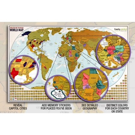 Map Scratch Off World 12 X 27 and USA 13 X 17 Maps 2 in 1 ...