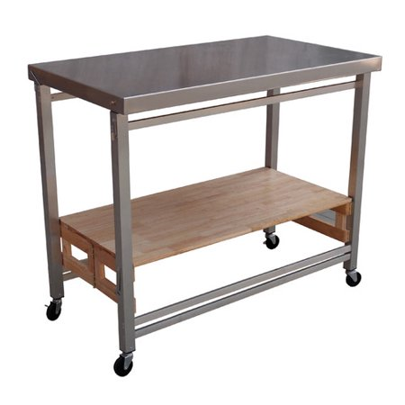 Oasis Concepts Folding Kitchen Island With Stainless Steel