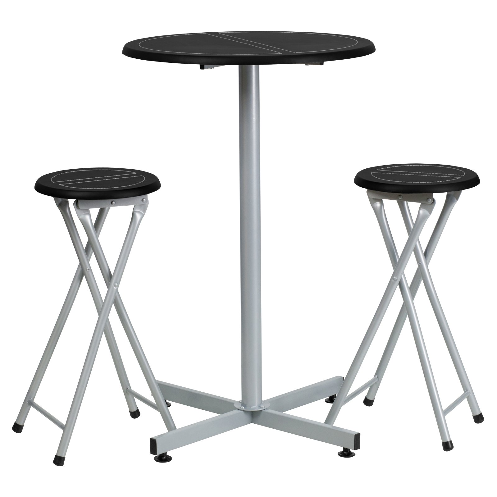 Flash Furniture Bar Height Table And Stool Set With White Stitch Insets,  Black