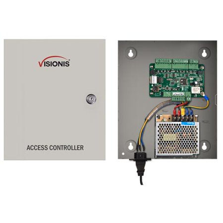Visionis VS-AXESS-1ETL One Door Network Access Control Panel Controller Board With Cabinet TCP IP Wiegand With Desktop Software And Power Supply Included 10,000 Users (Cabinet Vision Software)