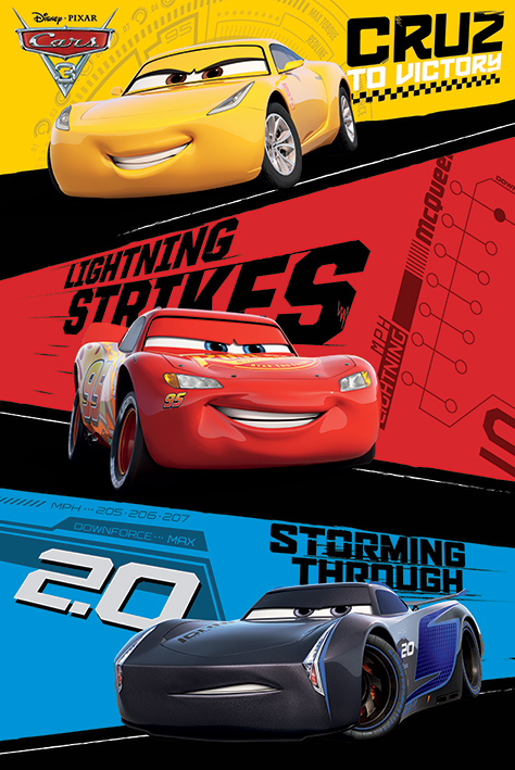 Cars 3 Pixar   Disney Movie Poster   Print (Trio Lightning McQueen, Jackson Storm, Cruz Ramirez) by