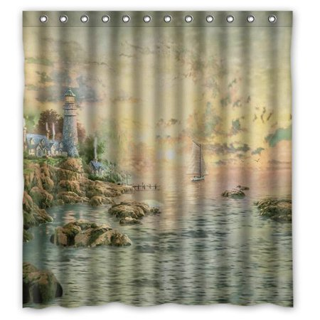 HelloDecor Lighthouse Map Shower Curtain Polyester Fabric Bathroom Decorative Size 66x72 Inches