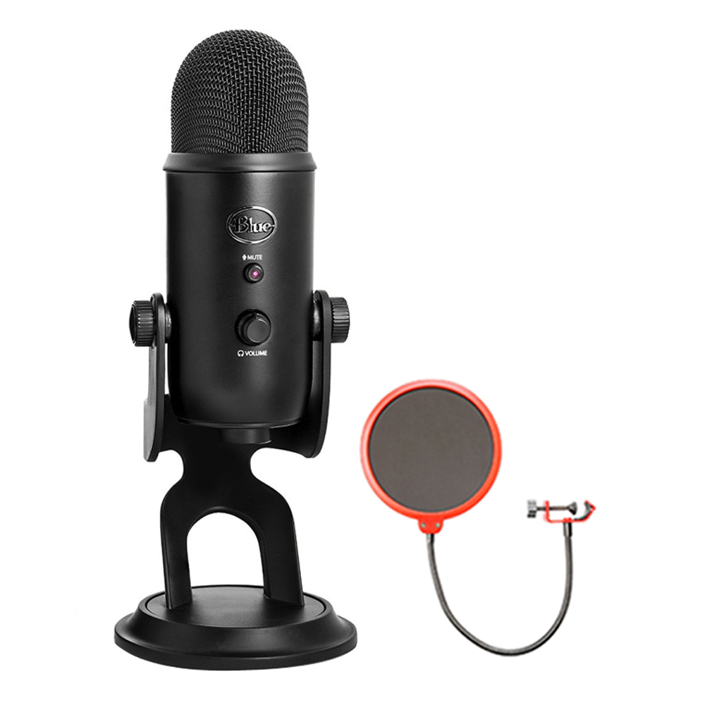 Blue Microphones USB Microphone Four Pattern (YETIBLACKOUT) with Universal Pop Filter Microphone Wind Screen with Mic Stand Clip