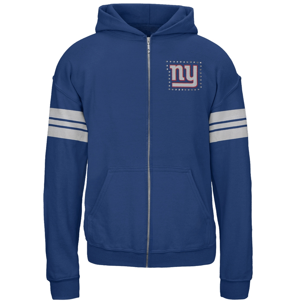 New York Giants - Rhinestone Logo Sport Stripes Girls Juvy Zip Hoodie