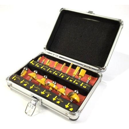 ROUTER BIT SET - 15 piece 1/4' inch Shank CARBIDE TIP Deluxe Aluminum Case New