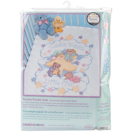 "Twinkle Twinkle Quilt Stamped Cross-Stitch Kit, 34"" x 43"""