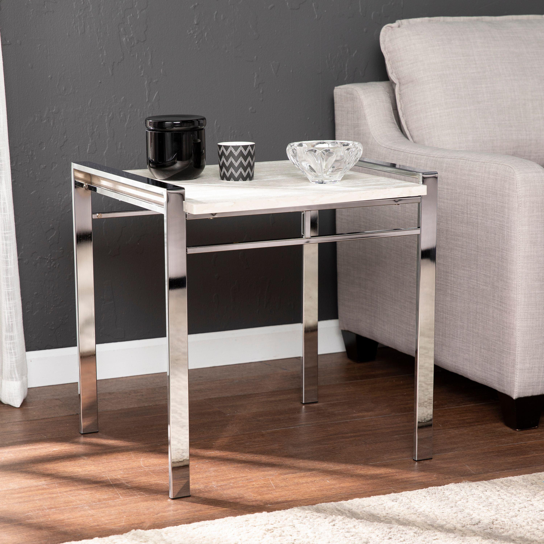 Cazzoli Faux Stone End Table Chrome W White Marble Walmart Com