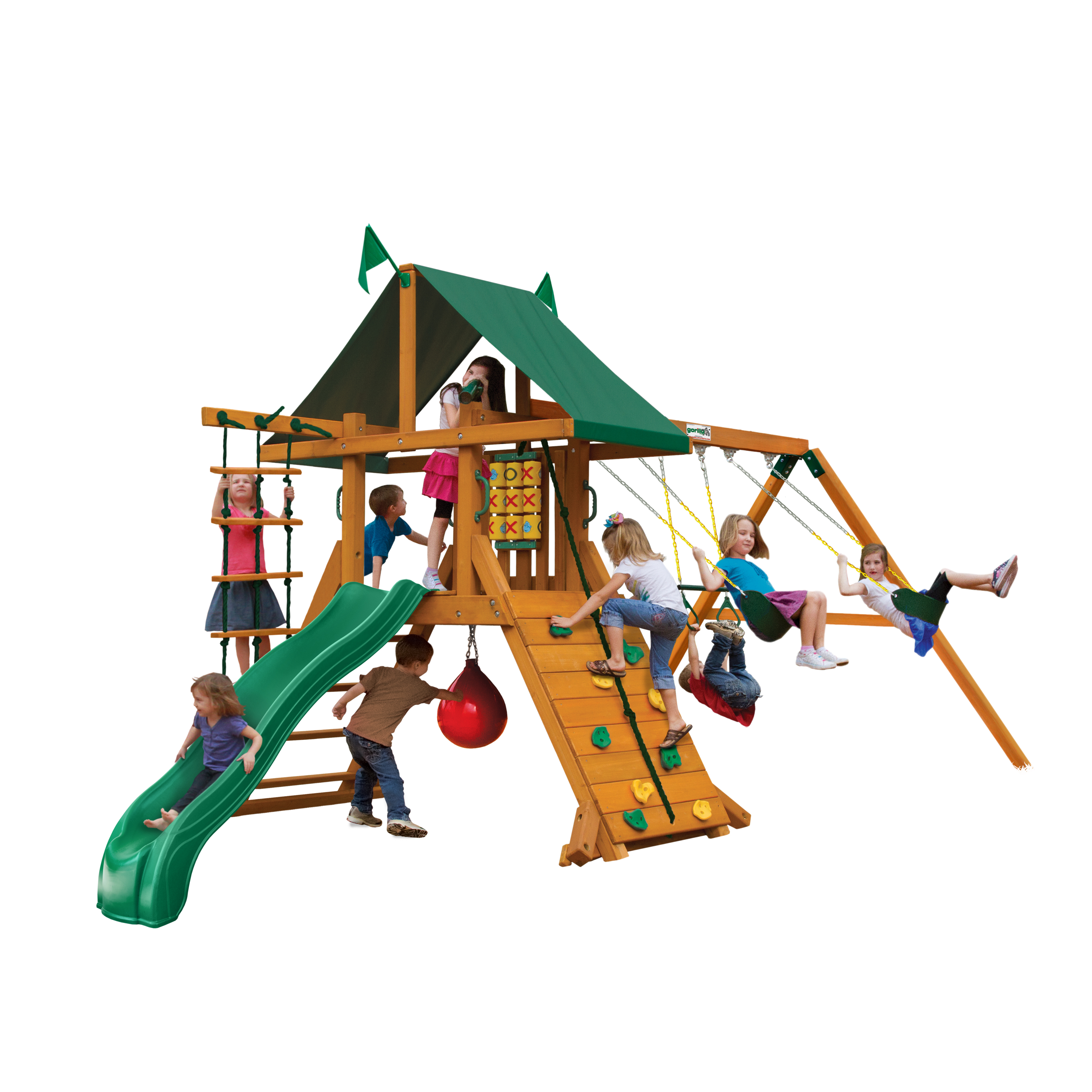 Gorilla Playsets High Point Wooden Swing Set With Punching Ball 2