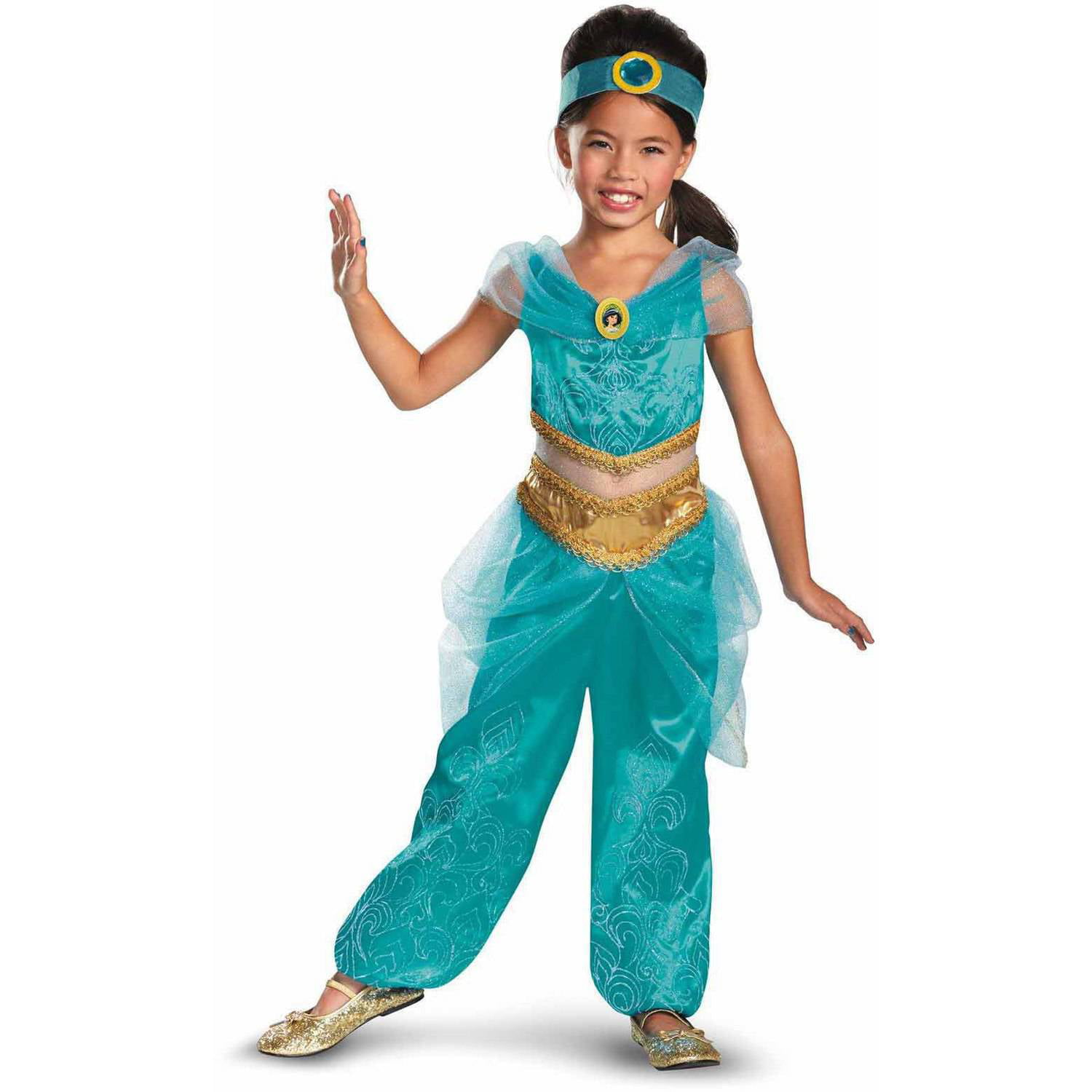 disney jasmine deluxe sparkle girlu0027s child halloween costume walmartcom