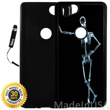 Custom Google Pixel 2 Case (Cool X Ray Skeleton) Plastic Black Cover Ultra Slim | Lightweight | Includes Stylus Pen by Innosub ()