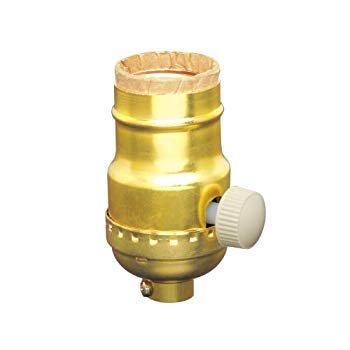 6151 Incandescent Lamp Holder Socket Dimmer, Metal Finish, Brass Color