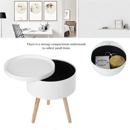 Modern Style Solid Storage Round Side Coffee Table With Tabletop