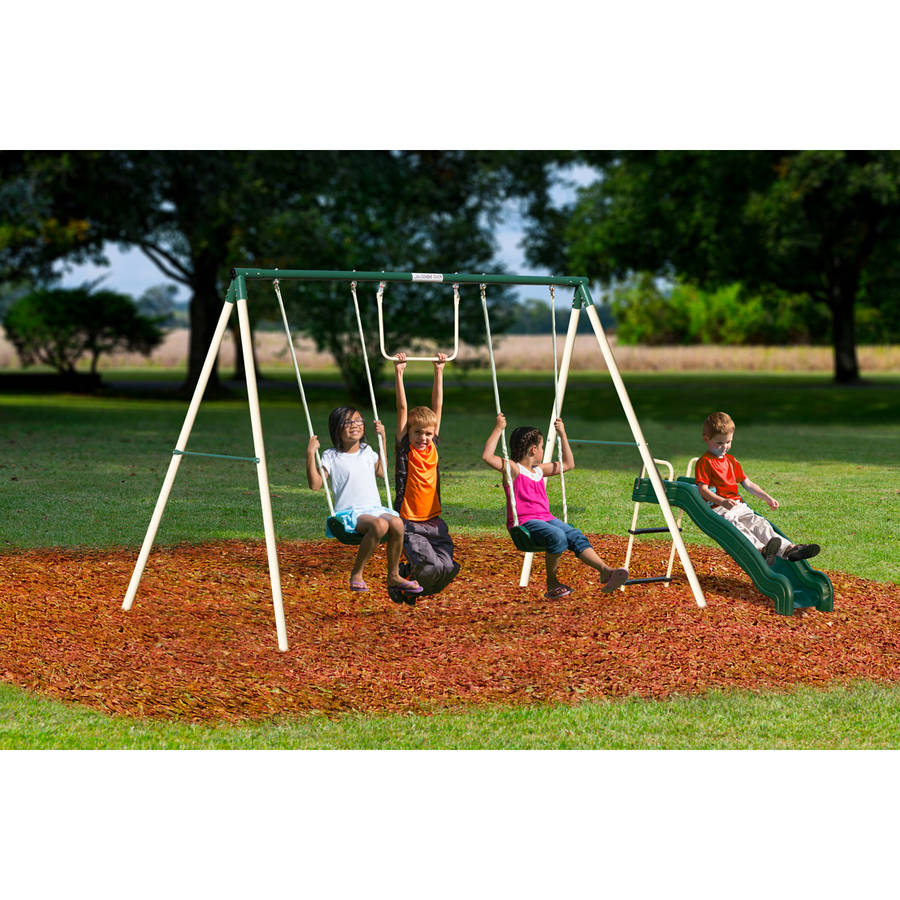 Flexible Flyer Outside Fun II Metal Swing Set Playground Backyard Kids  Outdoor
