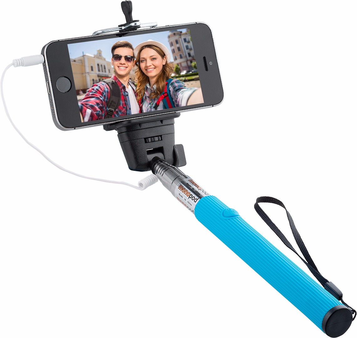 Knox Monopod Selfie with Cable and Single Button Shutter - Blue