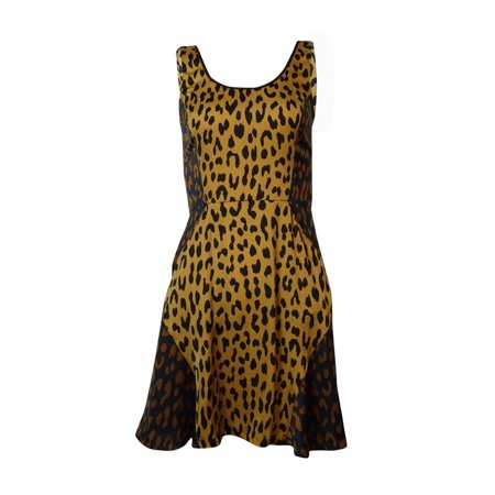 RACHEL Rachel Roy Women's Colorblocked Leopard A-Line Dress (XS, Camel Combo)