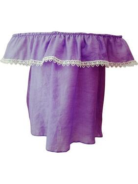 fc540e93530c6 Product Image Little Girls Purple Contrast Scalloped Lace Trim Off-Shoulder  Blouse Top