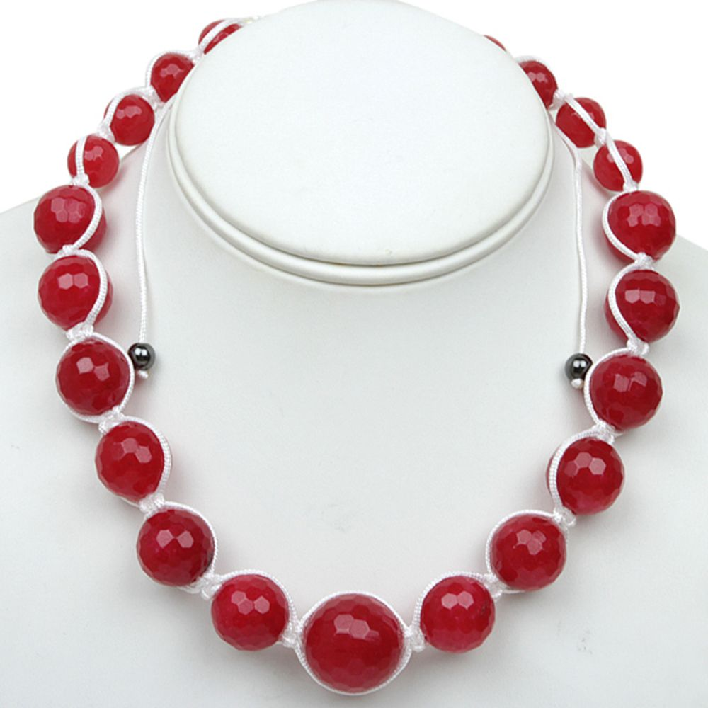 "18"" Red  Agate Faceted Round Beads in White Lace Adjustable Necklace (18""-24"")"