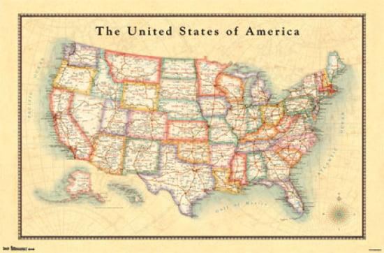 Map USA 13 Poster Poster Print Walmartcom