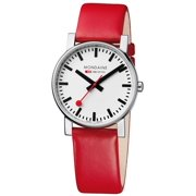 Mens SBB Official Railways Watch Evo 38 Basic GTS Stainless Watch - Red Leather Strap - White Dial - A660.30344.11SBC