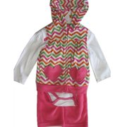 Buster Brown Baby Girls Pink White Bodysuit Chevron Stripe Vest 3 Pc Pants Set 12-24M