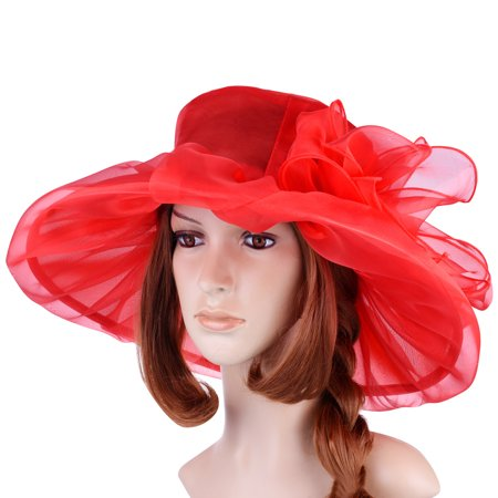 Sunbonnet Girl - Vintage and Fashionable Organza Floral Ruffles Wide Large Brim Tea Party Wedding Sun Hat Beach Sunbonnet