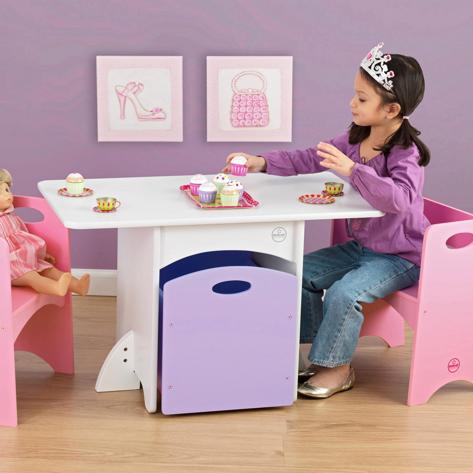 Awesome Kidkraft Table With Pink Benches Creativecarmelina Interior Chair Design Creativecarmelinacom