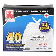 """Tuff Guy Kitchen Gargage Bags Super Ties White 24"""" x 28"""" 40Pcs/Pack"""