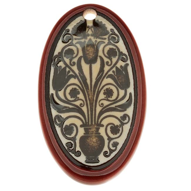 Clay River Designs Porcelain Pendant, 27x48mm Glazed Oval W/ Floral Motif, 1 Piece, Ruby