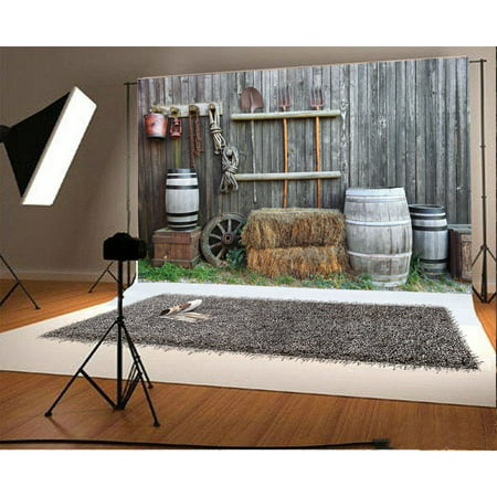 HelloDecor Polyster Agriculture Backdrop In Country Style 7x5ft Photography Background Straw Farm Tools Photos Video Studio Props ()