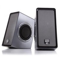 GOgroove SonaVERSE O2i LED Computer Speakers (Black) Small USB Powered Gaming PC Speakers