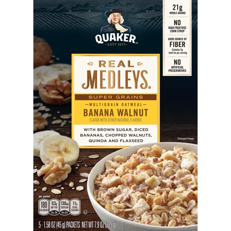 Quaker Real Medleys Multigrain Oatmeal Banana Walnut Flavor With Other Natural Flavors 1.58 Oz 5 Count