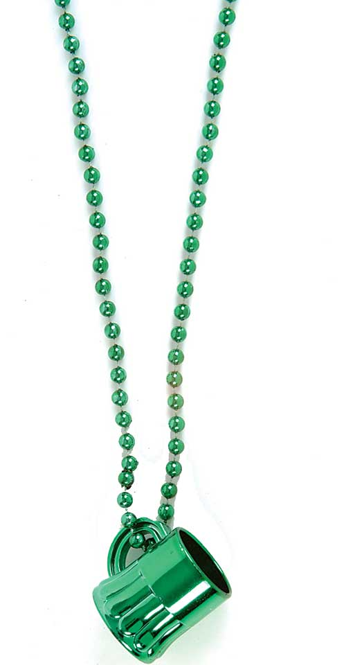 "12ct Beer Mug 8mm Beads 33"" Necklaces, Green, St Patrick Day Party Favors by Rhode Island Novelty"