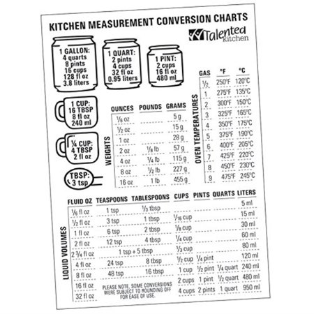 Magnetic Kitchen Conversion Charts By Talented Kitchen Magnet Size 7 X 5 Includes Weight Conversion Chart Liquid Conversion