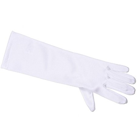 Girls Gorgeous Satin Medium Gloves Special Occasion Dress Formal Wedding Pageant White 0-3 (GL701-6BL)