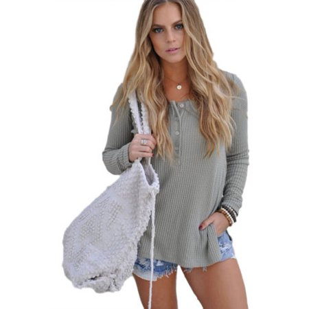 93939cc621327a Womens Long Sleeve Knitted Sweater Pullover Loose Split Jumper Tops Casual  Knitwear - Walmart.com
